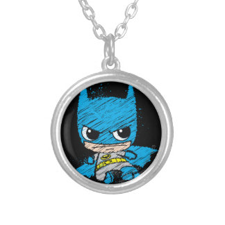 Chibi Batman Sketch Round Pendant Necklace