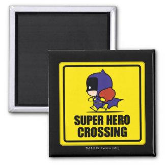 Chibi Batwoman Super Hero Crossing Sign Magnet