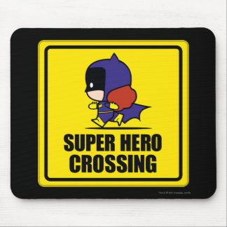 Chibi Batwoman Super Hero Crossing Sign Mouse Pad