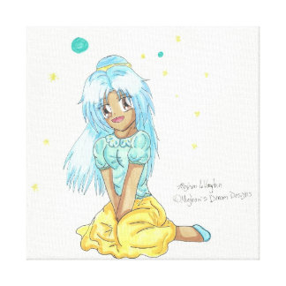 Chibi Casual Miko Wrapped Canvas 12X12 Canvas Print