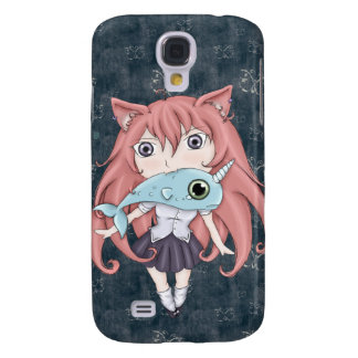 Chibi Cat Girl With Baby Narwal Galaxy S4 Covers