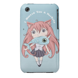 Chibi Cat Girl With Baby Narwal iPhone 3 Cover