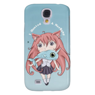 Chibi Cat Girl With Baby Narwal Galaxy S4 Case