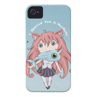 Chibi Cat Girl With Baby Narwal iPhone 4 Case-Mate Case
