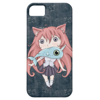 Chibi Cat Girl With Baby Narwal iPhone 5 Covers
