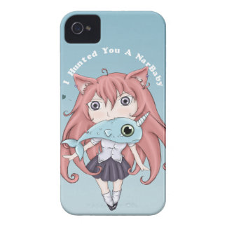 Chibi Cat Girl With Baby Narwal Case-Mate iPhone 4 Cases