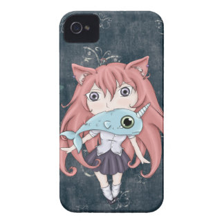 Chibi Cat Girl With Baby Narwal iPhone 4 Cover