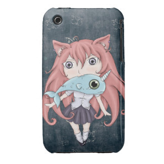 Chibi Cat Girl With Baby Narwal iPhone 3 Case-Mate Case