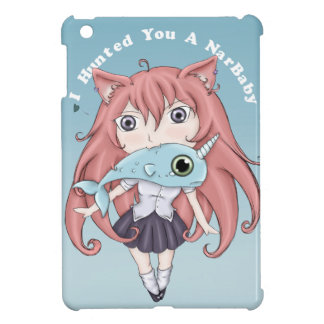 Chibi Cat Girl With Baby Narwal iPad Mini Cases