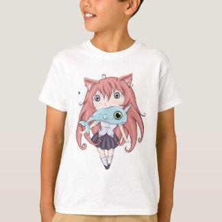 Chibi Cat Girl With Baby Narwal T-Shirt