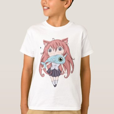 Toddler & Baby themed Chibi Cat Girl With Baby Narwal T-Shirt