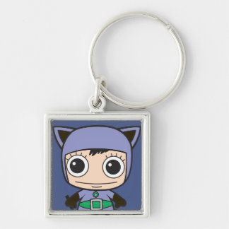 Chibi Cat Woman Silver-Colored Square Keychain