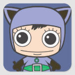 Chibi Cat Woman Square Sticker