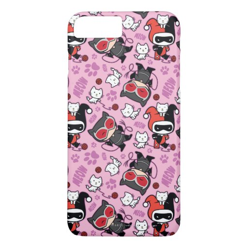 Chibi Catwoman, Harley Quinn, & Kittens Pattern iPhone 8 Plus/7 Plus Case