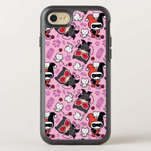 Chibi Catwoman, Harley Quinn, & Kittens Pattern OtterBox Symmetry iPhone SE/8/7 Case
