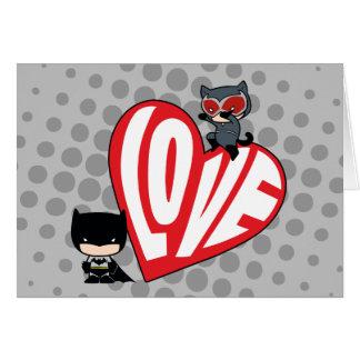 Chibi Catwoman Pounce on Batman Card