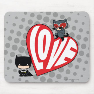 Chibi Catwoman Pounce on Batman Mouse Pad