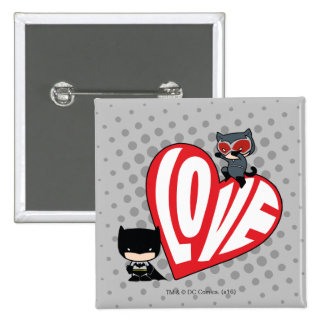 Chibi Catwoman Pounce on Batman Pinback Button