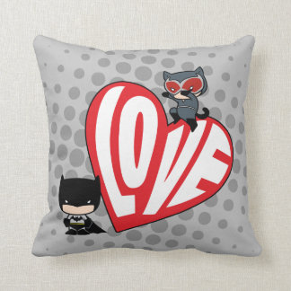 Chibi Catwoman Pounce on Batman Throw Pillow