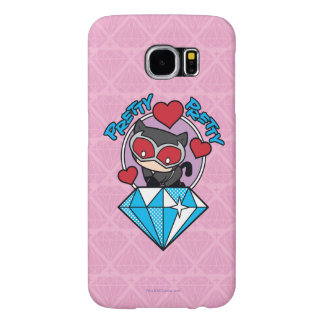 Chibi Catwoman Sitting Atop Large Diamond Samsung Galaxy S6 Case