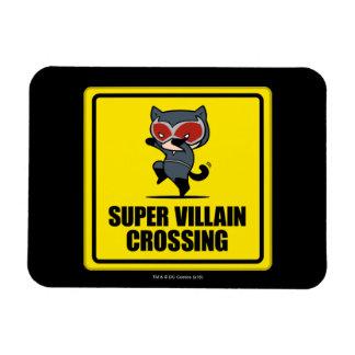 Chibi Catwoman Super Villain Crossing Sign Rectangular Photo Magnet