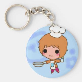 Chibi chef basic round button keychain