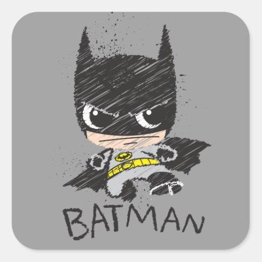 Chibi Classic Batman Sketch Square Stickers