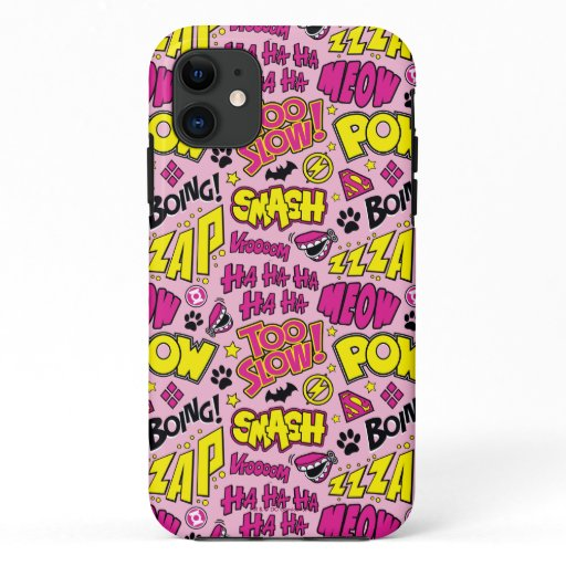 Chibi Comic Phrases and Logos Pattern iPhone 11 Case