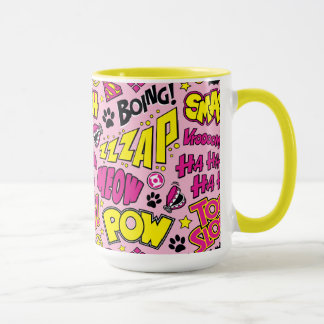 Chibi Comic Phrases and Logos Pattern Mug