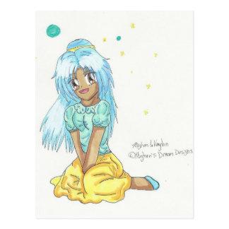 Chibi Cute Casual Miko Fashion Postcard