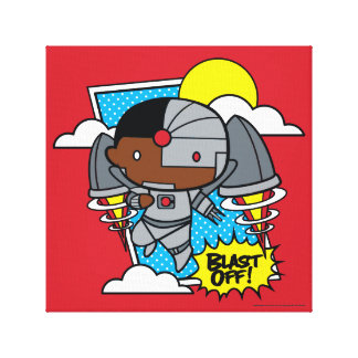 Chibi Cyborg Blast Off! Canvas Print