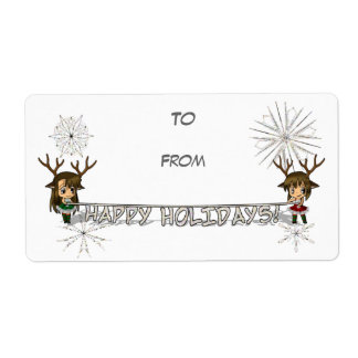 Chibi Deer Gift Tag Personalized Shipping Label