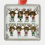 Chibi Deer Square Metal Christmas Ornament