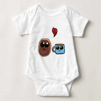 Chibi Donut and Coffee Cup in Love Couple Baby Bodysuit