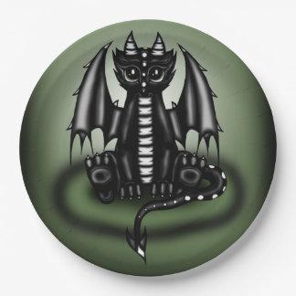 Chibi Dragon black Paper Plate