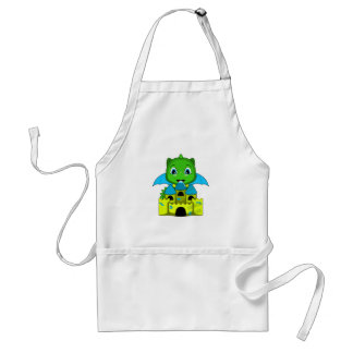 Chibi Dragon With A Blue And Yellow Castle Aprons