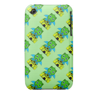 Chibi Dragon With A Blue And Yellow Castle Case-Mate iPhone 3 Case