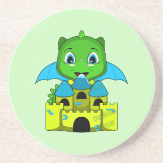 Chibi Dragon With A Blue And Yellow Castle Drink Coaster