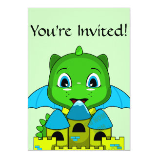 Chibi Dragon With A Blue And Yellow Castle 5x7 Paper Invitation Card