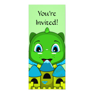 Chibi Dragon With A Blue And Yellow Castle 4x9.25 Paper Invitation Card