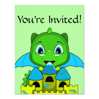 Chibi Dragon With A Blue And Yellow Castle 4.25x5.5 Paper Invitation Card