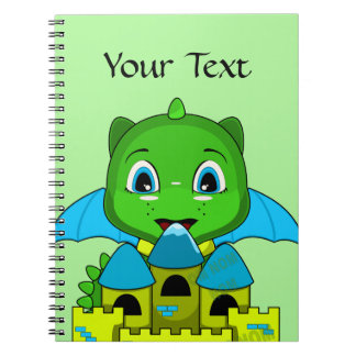 Chibi Dragon With A Blue And Yellow Castle Notebook