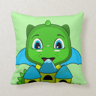Chibi Dragon With A Blue And Yellow Castle Pillow