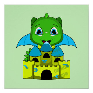 Chibi Dragon With A Blue And Yellow Castle Print