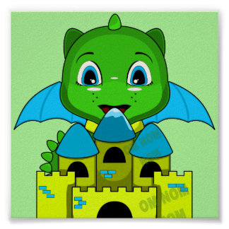 Chibi Dragon With A Blue And Yellow Castle Posters