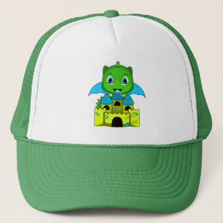 Chibi Dragon With A Blue And Yellow Castle Trucker Hat