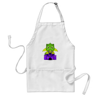 Chibi Dragon With A Yellow And Purple Castle Aprons