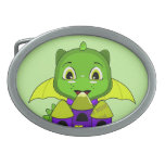 Chibi Dragon With A Yellow And Purple Castle Oval Belt Buckle