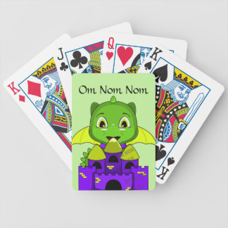 Chibi Dragon With A Yellow And Purple Castle Bicycle Playing Cards
