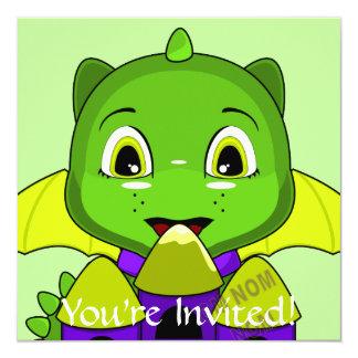 Chibi Dragon With A Yellow And Purple Castle 5.25x5.25 Square Paper Invitation Card